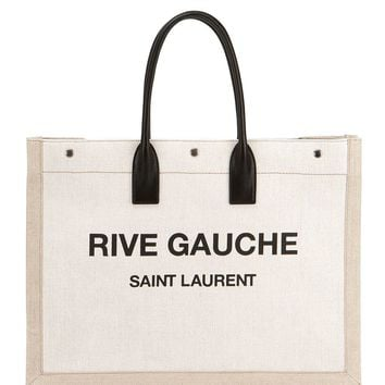 Rive Gauche Canvas Tote Bag by Saint Laurent