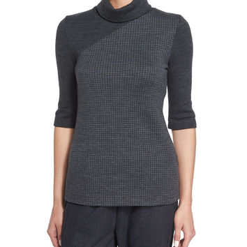 Taj Delfina Two-Tone Turtleneck Sweater, Size: