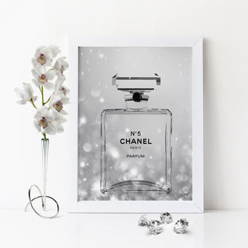 CHANEL DIAMOND PERFUME,Coco Chanel No5 Perfume Bottle,Teen Girl Room Decor,Girlfriend Gift,Coco Chanel Fashion,Makeup bathroom Art,For Her