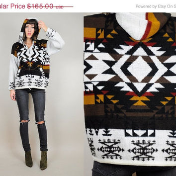 ON SALE WOOL Southwestern Navajo 80's Indian blanket Sweater hooded cardigan jacket native ethnic