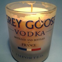 (1) Grey Goose Tall Glass Vanilla Candle - Bottle Heaven