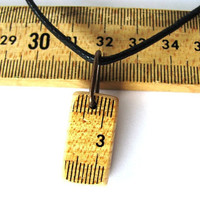 Ruler Pendant Necklace Vintage Wooden Meter Stick By Hendywood