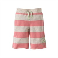 Burt's Bees Baby Organic Rugby Stripe Board Shorts - Toddler Girl, Size: