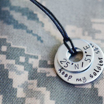 Keep My Soldier Safe Latitude/Longitude Necklace - Long Distance Relationship / Military / Deployment