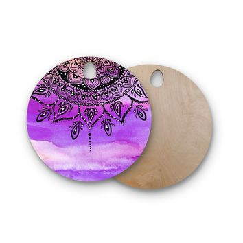 "Li Zamperini ""Lilac Mandala"" Lavender Purple Round Wooden Cutting Board"