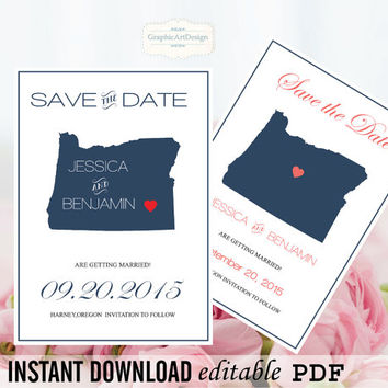 Oregon State Map Save the Date Editable PDF Templates - Oregon Navy State Map Save the Date Printable - Instant Download - DIY You Print