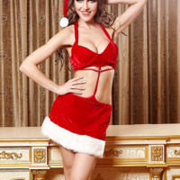 Red Halter Cut-out Christmas Lingerie Set