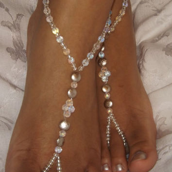 AB Crystal Silver Luster Wedding Barefoot sandals Foot jewelry