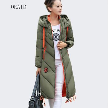 Fashion Snow Ladies Coats Army Green 2017 Winter Coat Women Parka Long Thick Warm parka Women Jackets And Coats Outerwear Black