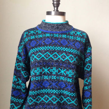 90s Boyfriend Sweater Abstract Vintage Jumper Ski Knit Top
