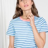 Contrast Neck Striped Tee - Blue / Pink - Tops & T-shirts - & Other Stories US