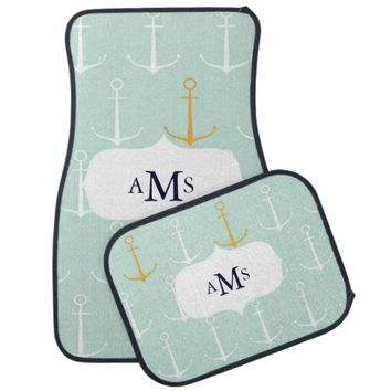 Custom monogram initials Nautical anchors preppy Car Floor Mat