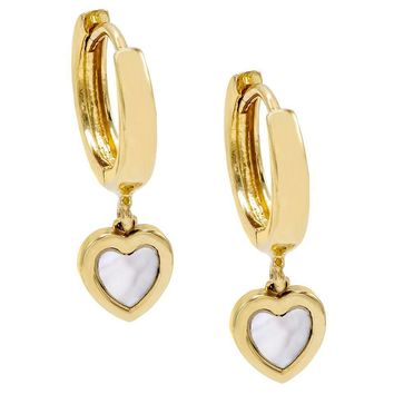 Mother of Pearl Heart Huggie Earring 14K