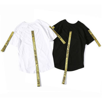 T Shirts Men Women Religious Off White T-Shirt Virgil Abloh Streetwear Ribbon Off White T-Shirt Short Sleeve