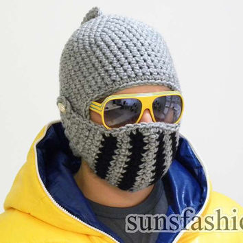 Crocheted Knight Helmet  hat Crochet Slouch  Mens by sunsfashion