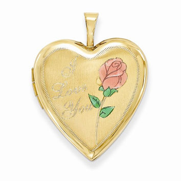 14k Yellow Gold 20MM Rose I Love You Heart Locket
