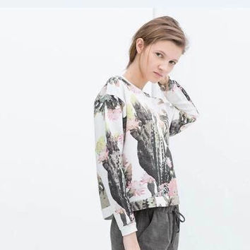 Cactus Print Long Sleeve Pull Over Sweatshirt