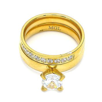 Stainless Steel Wedding Ring, Duo Design, with Cubic Zirconia and Crystal, Golden Tone