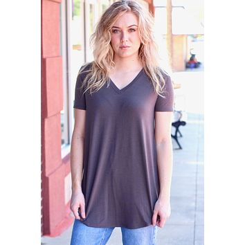 {Ash Grey} Best Basic S/S V-neck Rounded Hem Top