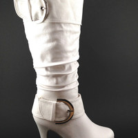 White Vegan Leather Women's Boot with Buckle Detail