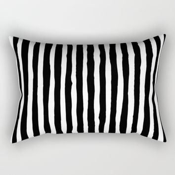 Black and White Vertical Stripes Rectangular Pillow by Abigail Larson