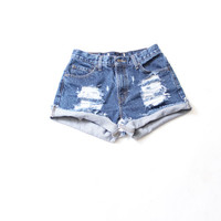 All Sizes Cuffed Destroyed  Ripped Distress  High Waist Shorts xS S M L Plus SIZES