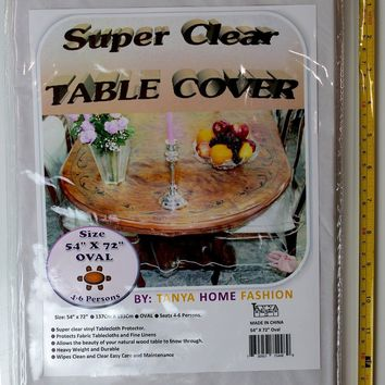 "100% Vinyl Super Clear and Durable Tablecloth Protector Size 54"" X 72"" Oval"
