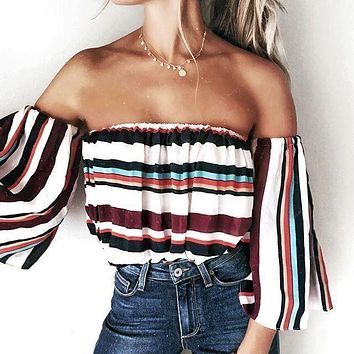 New Summer 2017 Women Sexy Off Shoulder Slash Neck Cold Shoulder Colorful Striped Blouses Shirts Long Sleeve Causal Beach Tops