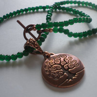 Green Aventurine Necklace with Copper Tree of Life Pendant by PhreshThreadz