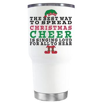 TREK The Best Way to Spread Christmas Cheer on White 30 oz Tumbler Cup
