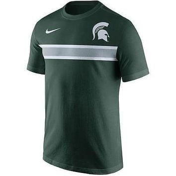 Michigan State Spartans Men's Shirt Nike Team Stripe T-Shirt Green