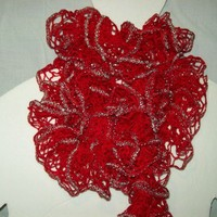 Scarf RUFFLES Red with Silver Shimmer Lace n Ruffles Layered Trendy