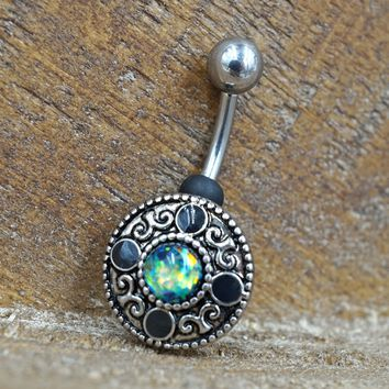 Green Opal Tribal Shield Belly Button Ring