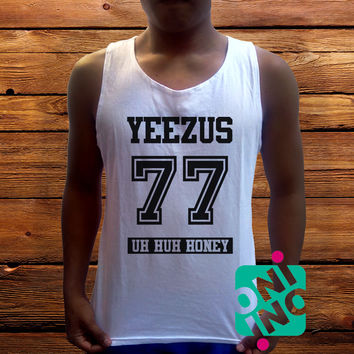 Yeezus 77 Uh Huh Honey Men's White Cotton Solid Tank Top