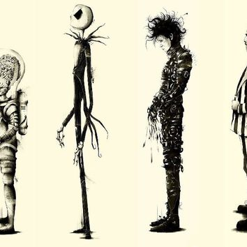 Tim Burton Movie Beetlejuice Edward Scissorhands Movie Poster Fabric Silk Poster Print Great Pictures On The Wall For Gift