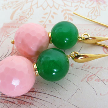 Green jade earrings, pink coral earrings, uk dangle earrings, drop earrings, gemstone jewellery,  gold 18 K earrings, italian jewelry