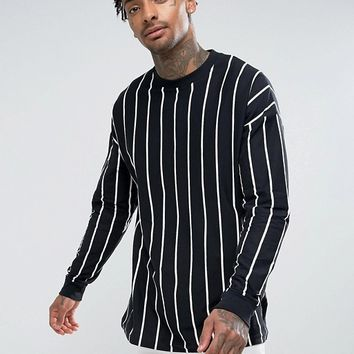 ASOS Oversized Vertical Stripe Long Sleeve T-Shirt at asos.com