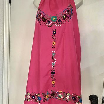 Mexican Embroidered Mini Halter Dress Open Back Hot Pink