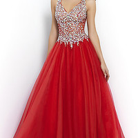 V-neck Blush Ball Gown