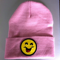 Pink Smiley Face Beanie