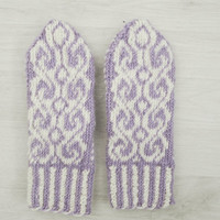 Hand knitted wool mittens, white and violet mittens, wool gloves, winter accessories, autumn accessories