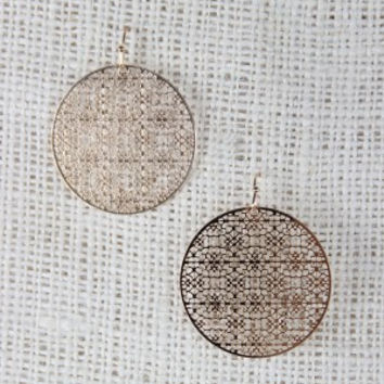 Delicate Circle Filigree Dangle Earrings