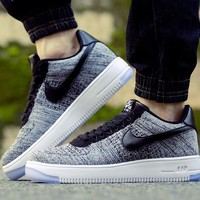 Originals Nike Air Force One 1 Flyknit Low Grey / Black / White Running Sport Casual Shoes '07 817419-005 Sneakers