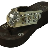 Montana West Bling Flip Flops Tooled Wedge Sandals Studded Platforms Rhinestones and Cross- Available in Different Colors and Sizes