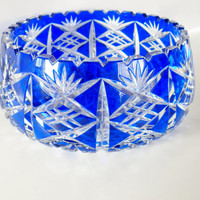 Vintage, Large Cobalt Blue Bohemian Cut Crystal Bowl, Christmas Gift