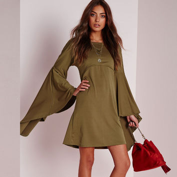 Women's Fashion Long Sleeve Loudspeaker Irregular Skirt One Piece Dress [5024165892]