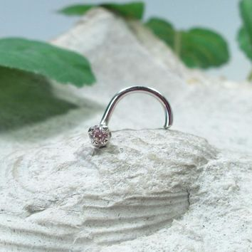 Nose Stud Sterling Silver Cubic Zirconian
