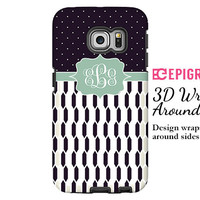 Monogram Samsung Galxy S6 Edge case, black and white Galaxy S6 case, custom Galaxy S5 case, Galaxy S4 case, tough case Galaxy S6, 3D wrap