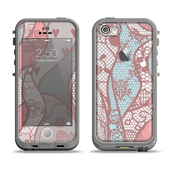 The Pink & Teal Lace Design Apple iPhone 5c LifeProof Fre Case Skin Set