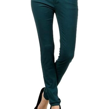 Colored Skinny Jeans, Dark Teal